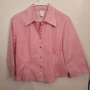 NWOT Gingham Button Down Top Pink White Top